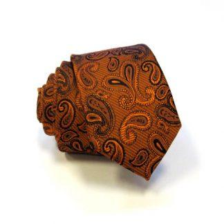 Orange & Black Paisley Skinny Men's Tie w/Pocket Square 4561-0