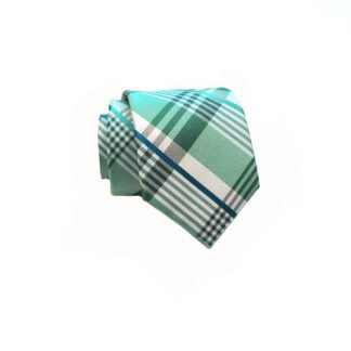 Mint , Cobalt & Green Plaid Skinny Men's Tie w/Pocket Square 4983-0