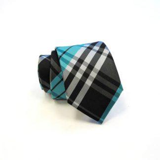 Turquoise, Black & Gray Plaid Skinny Men's Tie w/Pocket Square 8315-0