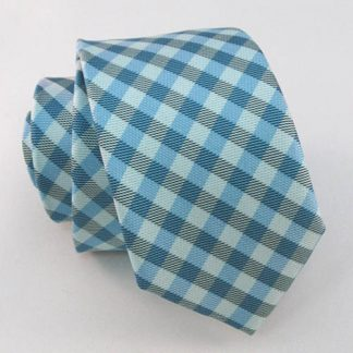 Light Blue & Gray Small Criss Cross Skinny Men's Tie w/Pocket Square 1341-0
