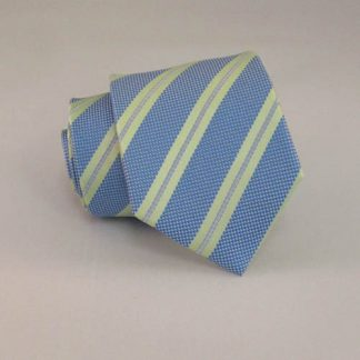 "Boy's 49"" Green & French Blue Stripe Self Tie 1736-0"