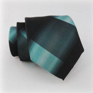 Turquoise & Black Stripe Bold Stripe Criss Cross Skinny Men's Tie w/Pocket Square 7602-0