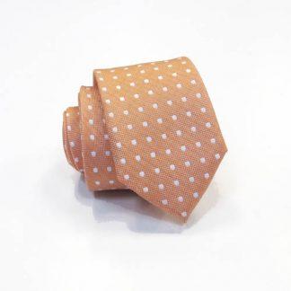 Orange w/White Dot Skinny Men's Tie 7926-0