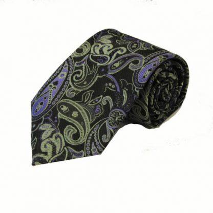 Green, Black, Purple Paisley Men's Tie w/Pocket Square 7972-0