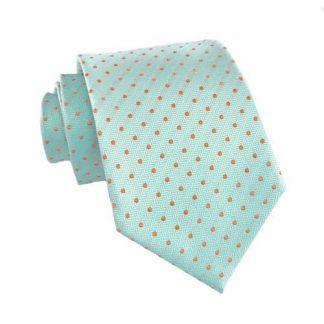 Turquoise w/ Orange Dots Skinny Men's Tie 9976