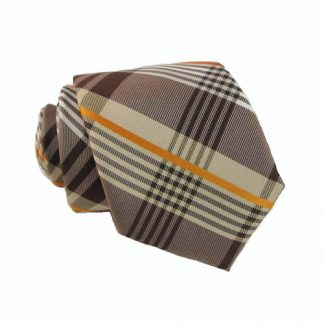 Brown, Orange & White Plaid Skinny Men's Tie w/Pocket Square 2196-0