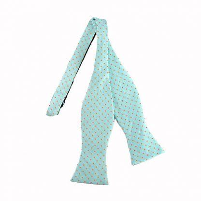 Turquoise w/Orange Dots Self Tie Bow Tie 7781-0