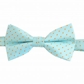 Turquoise w/Orange Dots Banded Bow Tie 7881-0
