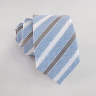 Light Blue, White, Gray Stripe Skinny Men's Tie 10417-0