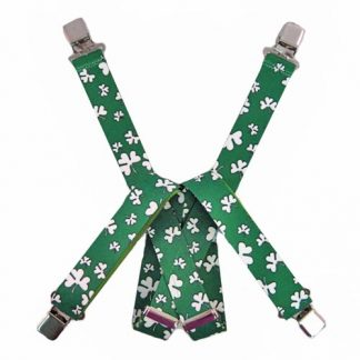 Green & White Shamrocks Suspenders 2718-0