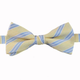 Light Yellow & Blue Stripe Banded Bow Tie 6124-0