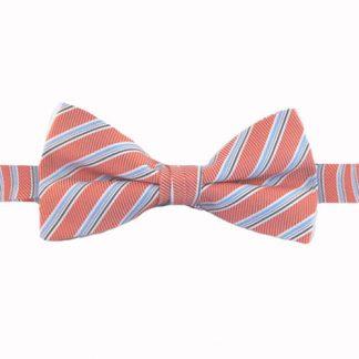 Salmon, Light Blue Stripe Band Bow Tie 8678-0