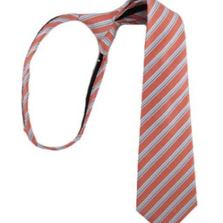 "14"" Boy's Zipper Tie Salmon & Light Blue Stripe 8994-0"
