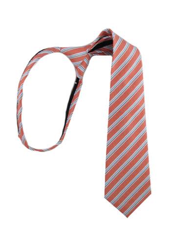 """14"""" Boy's Zipper Tie Salmon & Light Blue Stripe 8994-0"""