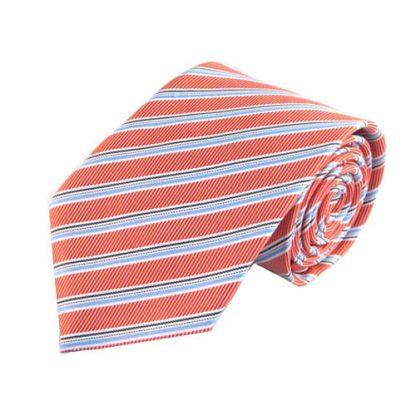 "63"" XL Salmon, Light Blue Stripe Men's Tie 9963-0"