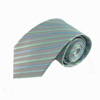 Mint, Turquoise, Gray Stripe Men's Tie 10720-0