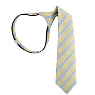 "Boy's 14"" Zipper Tie Light Yellow & Blue Stripe 5917-0"