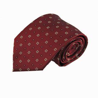 Burgundy w/Khaki Squares Men's Tie 5919-0