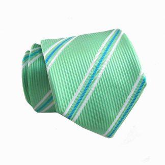 "49"" Mint, Blue, White Stripe Boy's Tie 954-0"