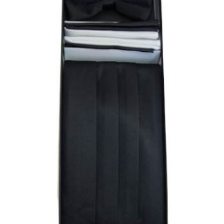 Black Solid Cummerbund w/Matching Bow Tie & Pocket Squares 10719-0