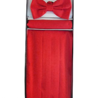 Red Solid Cummerbund w/Matching Bow Tie & Pocket Square 11313-0