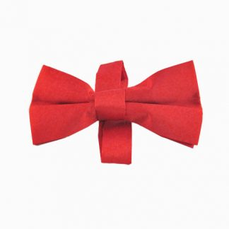 Red Solid Banded Bow Tie 194-0