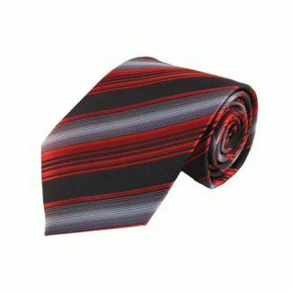 """63"""" XL Bright Red, Black Stripe Men's Tie 3487-0"""