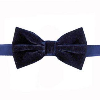 Navy Velvet Banded Bow Tie 9891-0