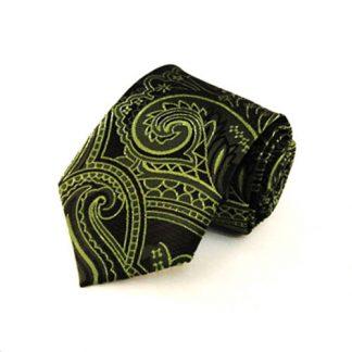 Green, Black Paisley Men's Tie 10502-0
