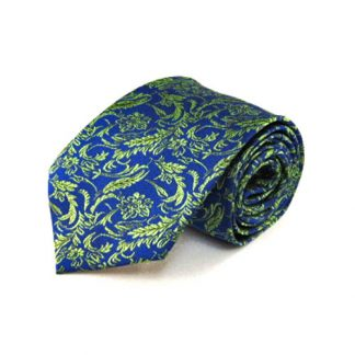 Royal Blue, Green Floral Men's Tie 1076-0