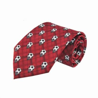 Soccer Red Plaid Men's Tie 10840-0