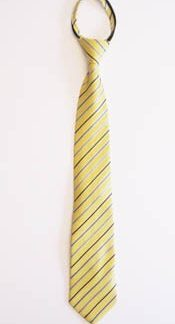 "17"" Boy's Zipper Tie Yellow & Blue Stripe 10994-0"