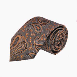 Orange, Taupe Paisley Men's Tie 11172-0
