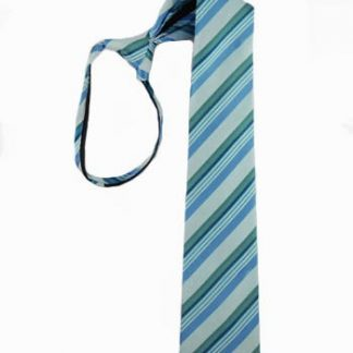 "14"" Boy's Zipper Tie Turquoise & Teal Stripe 3226-0"