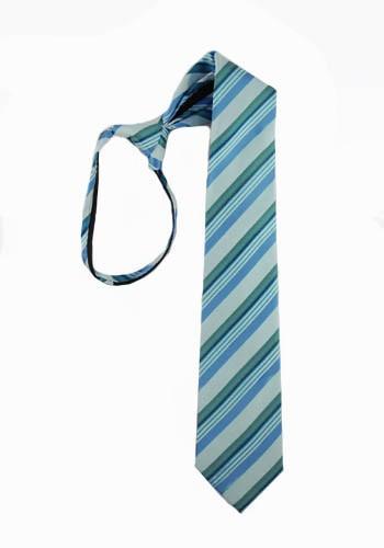 """14"""" Boy's Zipper Tie Turquoise & Teal Stripe 3226-0"""
