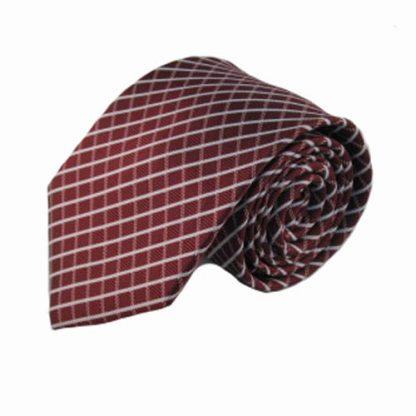 Burgundy, Gray Criss Cross Men's Tie 3360-0