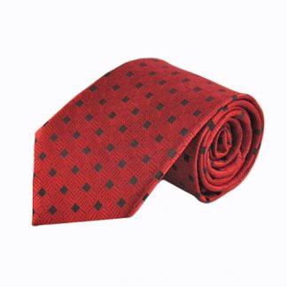Red, Black Geometric Square Men's Tie 4285-0