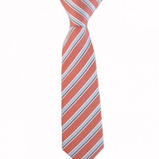 "8"" Boy's Clip-On Salmon & Light Blue Stripe 5172-0"