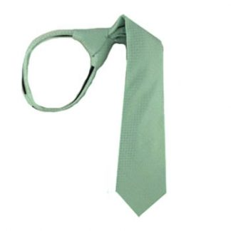 "14"" Zipper Tie Mint Tone on Tone Basket Weave Boy's Tie 8316-0"