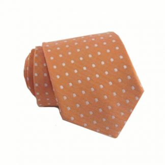 "49"" Boy's Self Tie Orange w/White Dot Tie 10078-0"