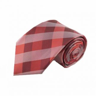 Coral, Medium Red, Gray Criss Cross Silk Men's Tie 1039-0