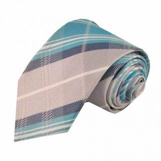 Aqua, Gray, White Plaid Men's Tie 10966-0