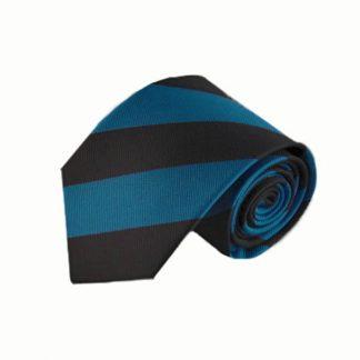 Turquoise, Charcoal Wide Stripe Men's Tie 1598-0