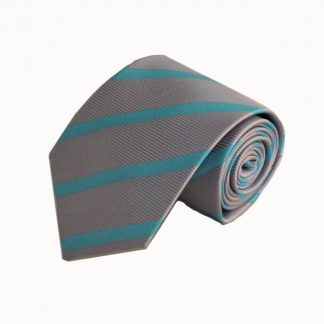 Gray, Turquoise Wide Stripe Men's Tie 3327-0
