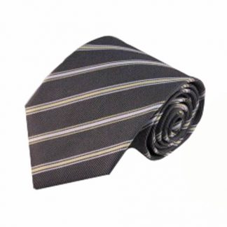 Charcoal, Yellow, White Stripe Men's Tie 6540-0
