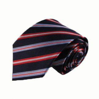 Navy, Red, Blue Stripe Silk Men's Tie 7519-0