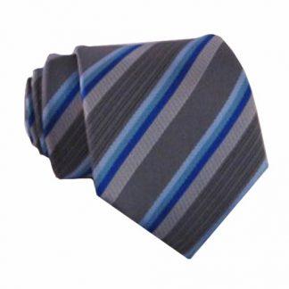 "49"" Boys Gray, Turquoise Stripe Self Tie 7709-0"