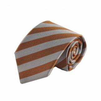 Orange, Silver Stripe Men's Tie 8508-0