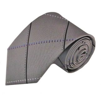 Silver, Black Large Grid Men's Tie 8518-0
