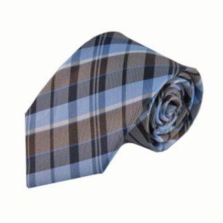 Light Blue, Brown, Navy Plaid Men's Tie 8681-0